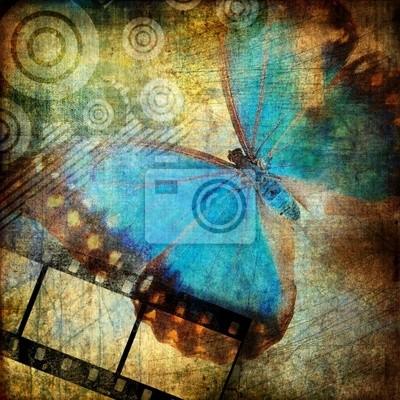 grungy artwork z motylem