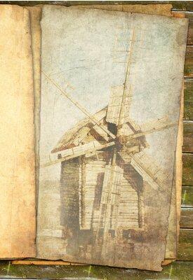 Obraz Grungy wiatrak w sepia