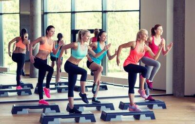 Obraz Grupa kobiet pracuje obecnie z steppery w siłowni