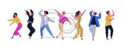 Obraz Grupa młodzi szczęśliwi dancingowi ludzie lub męscy i żeńscy tancerze odizolowywający na białym tle. Uśmiechnięci młodzi człowiecy i kobiety cieszy się przyjęcia tanecznego. Ilustracja wektorowa kolor