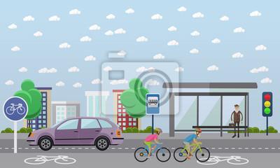 Grupa rowerzystów na rowerach. Ulica z linii rowerów. Ilustracja wektora w stylu płaskiej konstrukcji.