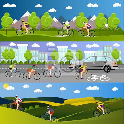 Grupa rowerzystów na rowerach w górach, drogowego miasta i parku. Kolarstwo banery sportowych. ilustracji wektorowych w stylu mieszkania