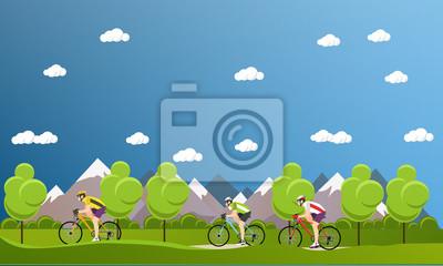 Grupa rowerzystów na rowerach w górach i parkach. Biking koncepcji sportu banery kreskówek. Ilustracja wektora płaskie stylu projektu