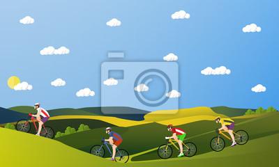 Grupa rowerzystów na rowerach w górach i parku. Kolarstwo sport concept animowanych bannerów. ilustracji wektorowych w stylu płaska
