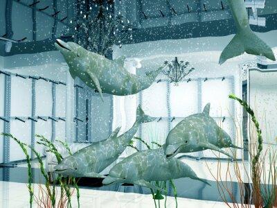 Obraz grupa z delfinami w nowoczesne wnętrza sklepu (3D)