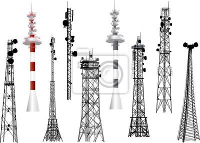 Obraz Grupa z dziewięciu anteny wieże na białym tle