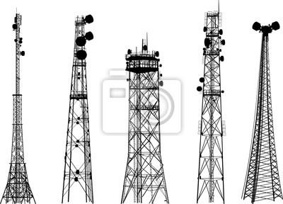 Obraz Grupa z pięciu anten wieży sylwetki na białym tle