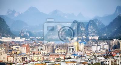 Guilin miasta anteny obrazek, Guangxi Zhuang region autonomiczny, Chiny.