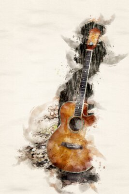 Obraz guitar leaning on tree in watercolors