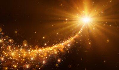 Obraz Gwiazda Boże Narodzenie ze złotymi Glitter