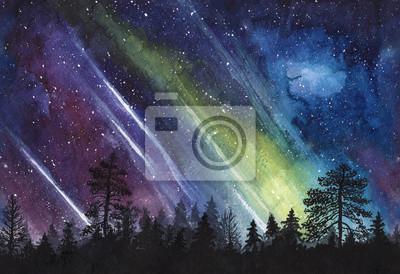 Obraz Gwiaździste niebo noc z aurora i las sylwetka - akwarela poziomo bez szwu ilustracji