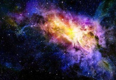 Obraz Gwiaździsty głęboki zewnętrzna nebual przestrzeń i galaxy
