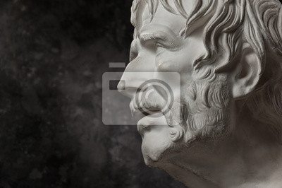 Obraz Gypsum copy of ancient statue Seneca head on dark textured background. Plaster sculpture man face.