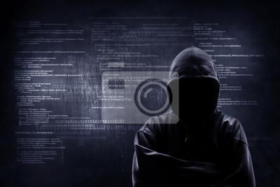 Obraz Hacker pracuje nad kodem na ciemnym cyfrowym tle z cyfrowym interfejsem wokoło.