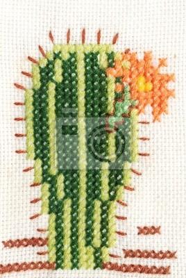 Niesamowite Obraz Haft krzyżykowy kaktus z kwiatem na wymiar • projekt, close RK81