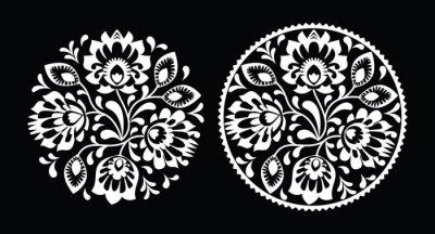 Obraz Haft ludowy z kwiatami - tradycyjny polski biały wzór