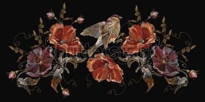 Obraz Hafty ptaki i maki kwitną wektor. Wiosna moda sztuka, szablon do projektowania ubrań, projekt koszulki