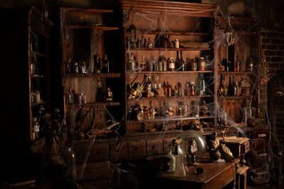 Obraz Halloween background Shelves with alchemy tools Skull spiderweb bottle with poison candles