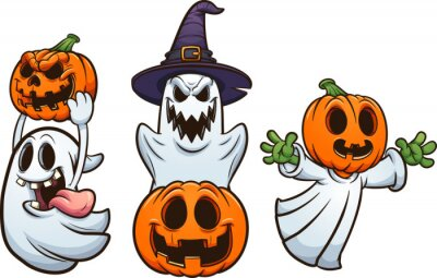 Obraz Halloween ghosts and pumpkins with evil smiles. Vector clip art illustration with simple gradients. Each on a separate layer.