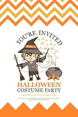 Obraz Halloween Karty Zaproszenie Na Bal Przebierańców Noc Cute Kid