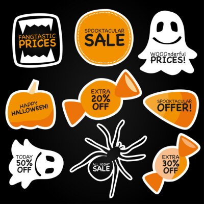 Obraz Halloween sale offer vector graphic. Sticker clipart set with word play promotional text. Cute ghost, vampire teeth, spider, pumpkin and candy corn treats clip art to use for business advertisement.