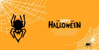 Obraz Halloween vector design with spider silhouette on orange background for poster, invitation, banner and celebration event