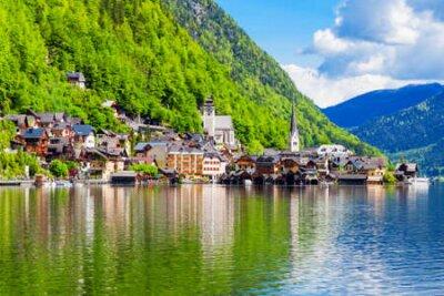 Obraz Hallstatt old town and Hallstatter See lake in Upper Austria. Hallstatt is a village in the Salzkammergut region near Salzburg in Austria.