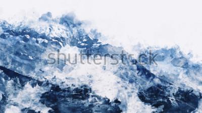 Obraz Halny szczyt w zimy paining w błękitnym brzmieniu na białym tle, cyfrowy akwarela obraz
