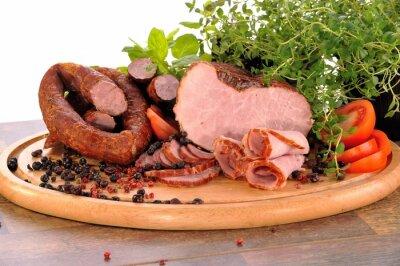 Obraz ham, sausage on board