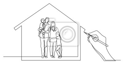 Obraz hand drawing business concept sketch of happy family home