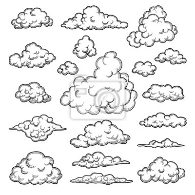 Obraz Hand drawn clouds. Weather graphic symbols decorative sky vector nature objects vector cloud collection. Illustration cloud weather, cloudy forecast