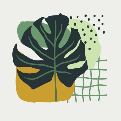 Obraz Hand Drawn collage of simple shapes and leaves monstera in Scandinavian style in green colors. vector illustration