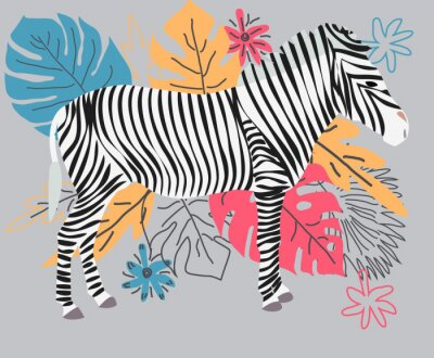 Obraz Hand drawn colorful zebra with flowers, Monstera, a bouquet. Zebra - word with cute design. Scandinavian style design.