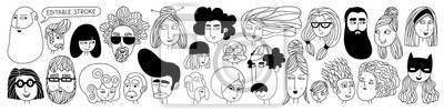 Obraz Hand drawn doodle set of people faces. Perfect for social media, avatars. Portraits of various men and women. Trendy black and white icons collection. Vector illustration. All elements are isolated