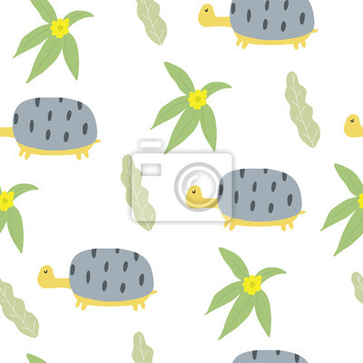 Hand drawn floral seamless pattern with turtle