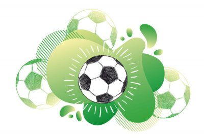 Obraz Hand drawn football, soccer ball sketch. Fluid abstract background. Banners with flowing liquid shapes. Vector