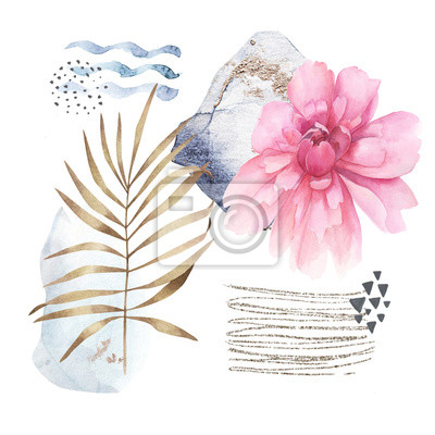 Hand drawn illustration with watercolor and marble elements on white background. Scandinavian design
