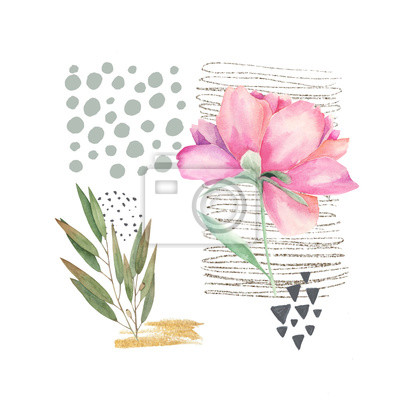 Hand drawn illustration with watercolor elements and peony. Scandinavian design. Abstract geometric print