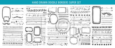 Hand Drawn Line Border Frame Vector Design Element Set Template Obrazy Redro