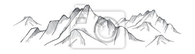 Obraz Hand drawn mountain on a white background. Vector