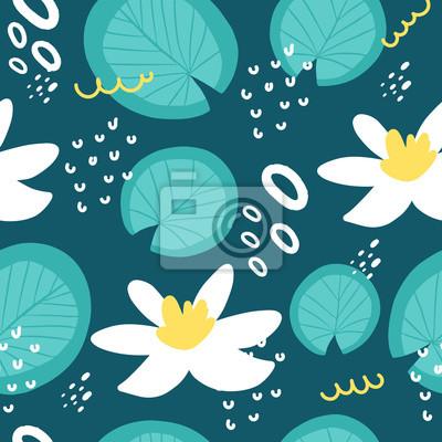 Hand drawn nimphaea  seamless pattern. Fresh summer print for home decor