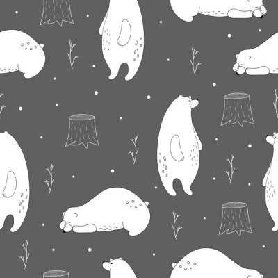 Hand drawn polar bear winter print. Scandinavian print with cute bear. Seamless pattern with a bear