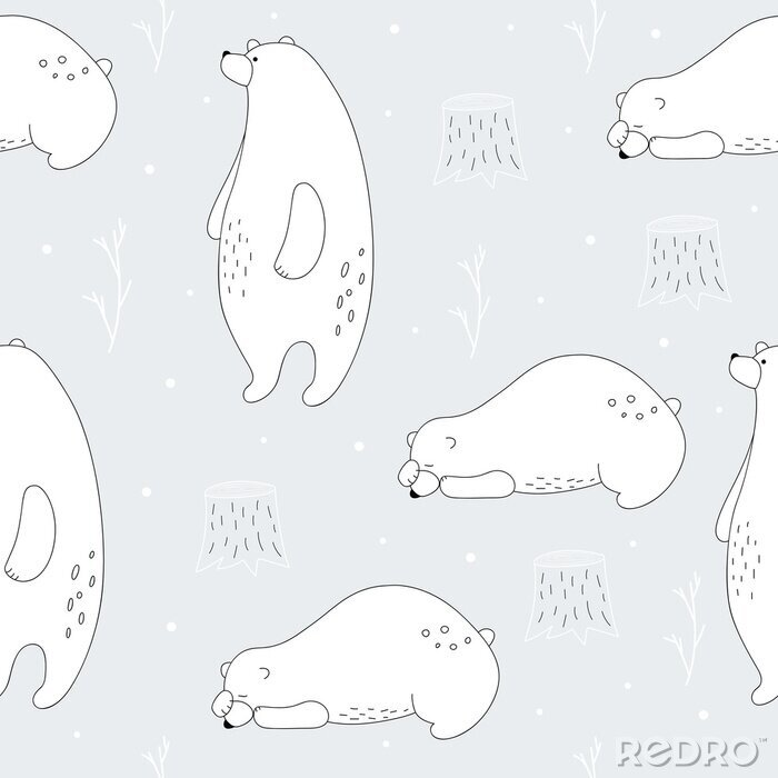 Obraz Hand drawn polar bear winter print. Scandinavian print with cute bear. Seamless pattern with a bear