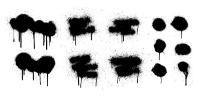 Obraz Hand drawn spray graffiti template. Texture ink with splashes and drips of paint on a white background. Grunge graphic stencil elements. Dirty graffiti spray effect. Street art. Vector collection