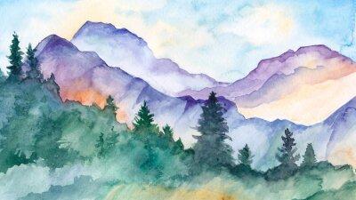 Obraz hand drawn watercolor mountain landscape