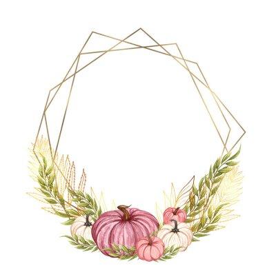 Obraz Hand drawn watercolor pumpkins frame. Fall arrangement with pink pumpkin anf gold geometric wreath. Autumn vegetables. Thanksgiving card.