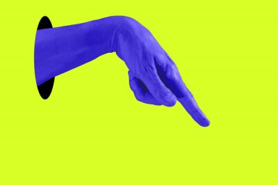 Obraz Hand in a pop art collage style in neon bold colors. Modern psychedelic creative element with human palm for posters, banners, wallpaper. Copy space for text. Magazine style template. Zine culture.