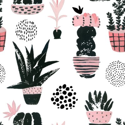 Obraz Hand painted botanical illustration with watercolor, grunge textures, doodles, pink flowers cactus for home art design in minimal nordic style