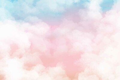 Obraz Hand painted watercolor pastel sky cloud background