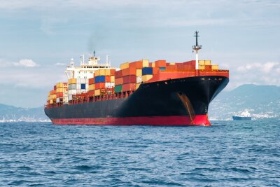 Obraz handlowy statek towarowy przewożenia kontenerów